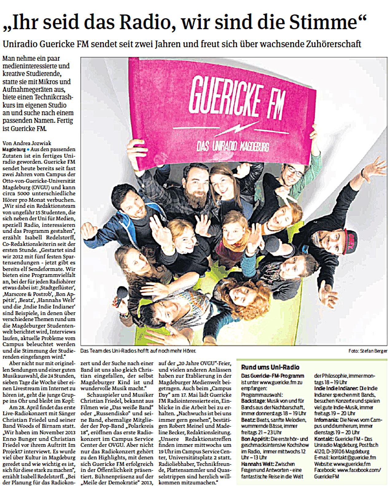 Guericke FM in der Volksstimme 19 April 2014